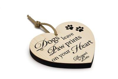 Houten Decoratie Hart Hond