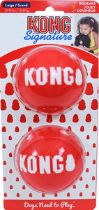 Kong 'Signature' balls pak a 2 stuks, large. (bal Ø 8.5 cm, voor honden van 13 tot 30 kg)