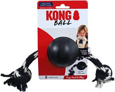 Kong Extreme rubber Ball met touw zwart, large