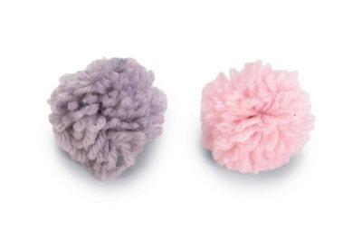 Beeztees Balletjes Orco Kattenspeelgoed Wol Roze/Grijs Dia. 4 cm