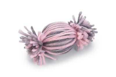 Beeztees Toffee Bal Toffy Kattenspeelgoed Wol Grijs/Roze 10x5x5 cm
