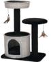 Kattenhuis-geweven-met-2x-zitje-zwart-wit